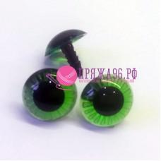 Глазки для игрушек 20 мм, с лучиками, зеленые на шурупе без крепежа