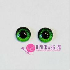 Живые глазки 10 мм, зеленые с крапинками, стекло, клеевые