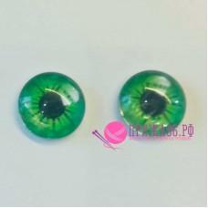 Живые глазки 10 мм, зеленый цвет, стекло, клеевые