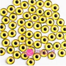 Живые глазки 10 мм, желтые, стекло, клеевые