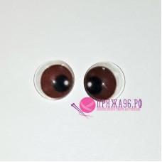 Живые глазки 14 мм, цвет №22 коричневый, стекло, клеевые