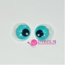 Живые глазки 12 мм, цвет №23 голубой, стекло, клеевые