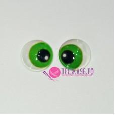 Живые глазки 14 мм, цвет №24 зеленый, стекло, клеевые