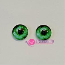Живые глазки 14 мм, цвет №25 зеленый, стекло, клеевые