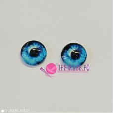 Живые глазки 14 мм, цвет №26 голубой, стекло, клеевые