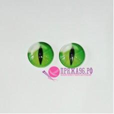 Живые глазки  12 мм, кошачьи, ярко-зеленый цвет, стекло