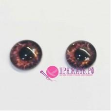 Живые глазки14 мм, бордовый цвет, стекло, клеевые