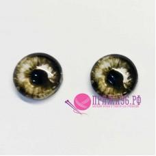 Живые глазки 8 мм, черно-белый цвет, стекло, клеевые