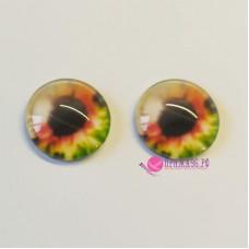 Живые глазки 14 мм, цвет №12, стекло, клеевые