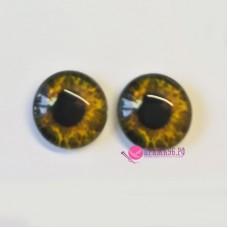 Живые глазки 14 мм, цвет №14 желто-зеленый, стекло, клеевые