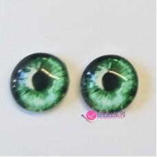 Живые глазки, цвет №15 изумруд, 14 мм, стекло, клеевые
