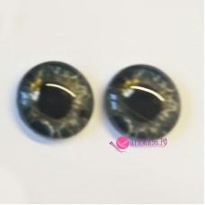 Живые глазки 12 мм, цвет №16 серый, стекло, клеевые