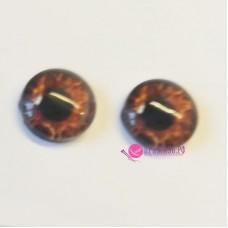 Живые глазки, цвет №17 оранжево-коричневый, 12 мм, стекло, клеевые