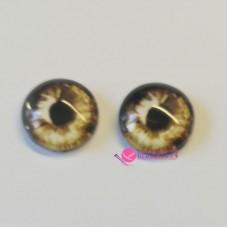 Живые глазки 12 мм, цвет №18 бежево-коричневый, стекло, клеевые