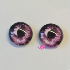 Живые глазки 12 мм, цвет №19 темно-розовый, стекло, клеевые