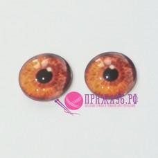 Живые глазки 14 мм, цвет №4, стекло, клеевые