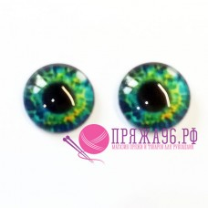 Живые глазки 14 мм, цвет №9, стекло, клеевые