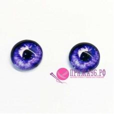 Живые глазки, фиолетовый цвет, 14 мм, стекло, клеевые