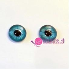 Живые глазки 16 мм, голубой цвет, стекло, клеевые