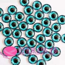 Живые глазки 10 мм, голубые с черным, стекло, клеевые