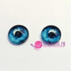 Живые глазки 12 мм, ярко-голубой цвет, стекло, клеевые