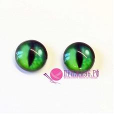 Живые глазки  12 мм, кошачьи, светло-зеленый цвет, стекло