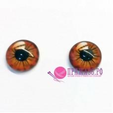 Живые глазки 14 мм, оранжевый цвет, стекло, клеевые