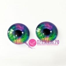 Живые глазки, радужный цвет, 14 мм, стекло, клеевые