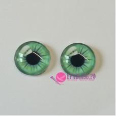 Живые глазки, светло-бирюзовый цвет, 14 мм, стекло, клеевые