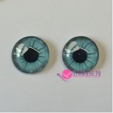 Живые глазки 12 мм, светло-голубой цвет, стекло, клеевые