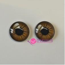 Живые глазки 8 мм, светло-коричневый цвет, стекло, клеевые