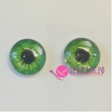Живые глазки 14 мм, светло-зеленый цвет, стекло, клеевые
