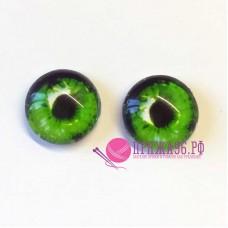 Живые глазки 12 мм, ярко-зеленый цвет, стекло, клеевые