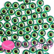 Живые глазки, зеленые с желтым, 10 мм, стекло, клеевые