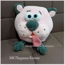 Мастер-класс по вязанию - подушка Котик