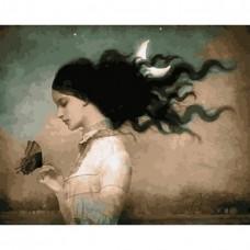 Картина по номерам - Девочка и махаон 40х50см