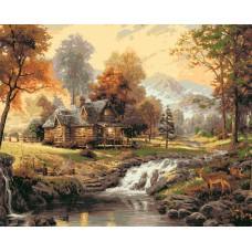 Картина по номерам - Дом в солнечном лесу 40х50см