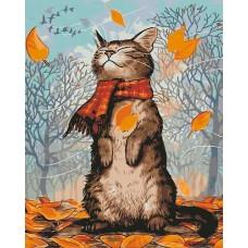 Картина по номерам - Осенний котик 40х50см