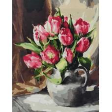 Картина по номерам - Тюльпаны в кувшине 40х50см