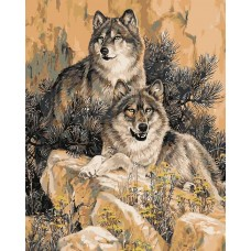 Картина по номерам - Волки на камне 40х50см