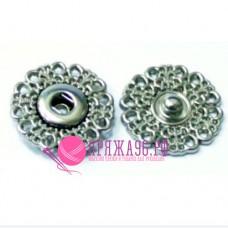 Кнопка пришивная потайная декоративная, диаметр 25 мм, цвет серебро