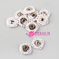 Кнопки пришивные декоративные, 15 × 15 мм, цвет белый