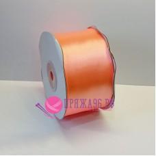 Атласная лента, 50 мм, цвет №8025 яркий персик
