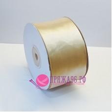 Атласная лента, 50 мм, цвет №8125 светло-бежевый