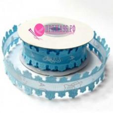 "Лента с ажурным краем ""беби на сетке"", 24 мм, цвет голубой"