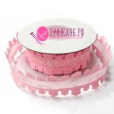 """Лента с ажурным краем """"беби на сетке"""", 24 мм, цвет розовый"""