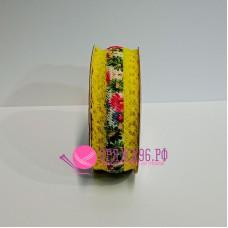 Лента с кружевом Цветочная поляна, 30 мм, цвет желтый
