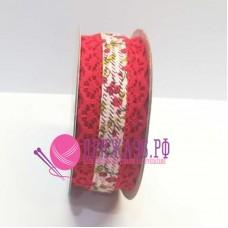 Лента с кружевом Цветочная поляна, 30 мм, цвет красный