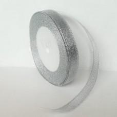 Парчовая лента, цвет серебро, 12 мм