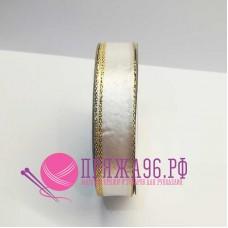 Атласная лента с люрексом, 15 мм, цвет белый